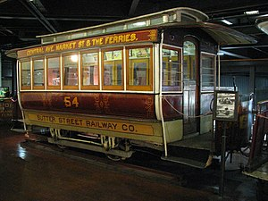 Sutter Street Railway - Sutter St no 54 trailer car on display in the SF Cable Car Museum.