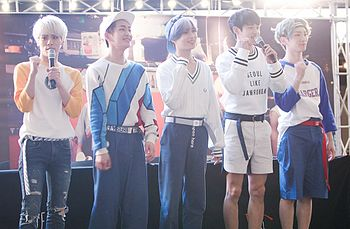 SHINee at a fansign at IFC Mall in Yeouido on May 2015.jpg