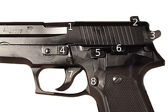SIG Sauer P226 - Detail of the controls and parts: 1. Ejection port/locking lug, 2. Rear sights, 3. Hammer, 4. Takedown lever, 5. Decocker, 6. Slide stop, 7. Trigger, 8. Magazine release.