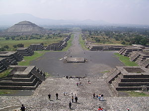 Teotihuacan - View of the Avenue of the Dead and the Pyramid of the Sun, from the Pyramid of the Moon.