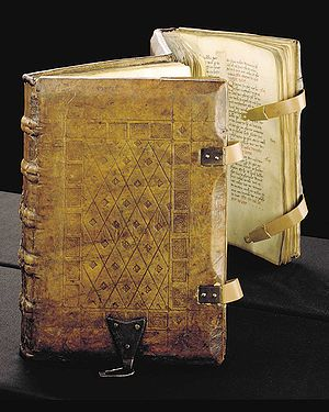 Parchment - A 1385 copy of the Sachsenspiegel, a German legal code, written on parchment with straps and clasps on the binding
