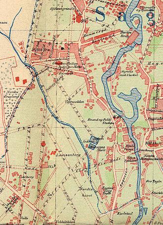 Myrens Verksted - Map of Sagene c.1900, with Myrens Mek. Verksted near the river.