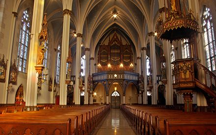 St. Joseph Catholic Church (1873) is a notable example of Detroit's ecclesiastical architecture (interior) Saint Joseph Catholic Church (Detroit, MI) - nave, rear.jpg