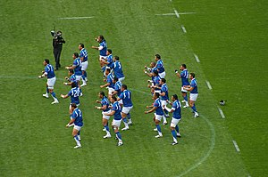 Siva Tau - Samoan team performing Siva Tau before the game against South Africa during the 2007 Rugby World Cup.