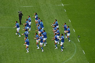 Samoa national rugby union team - Samoa performing their Siva Tau before playing South Africa at the 2007 Rugby World Cup.