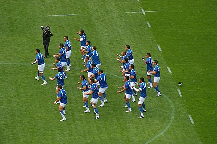 Samoa performing their Siva Tau before playing South Africa at the 2007 Rugby World Cup. Samoan Siva Tau.jpg