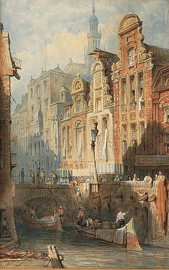 Samuel Prout - Utrecht Town Hall by Samuel Prout in 1841