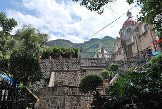 Chalma, Malinalco - View of part of sanctuary from just below the Plaza of the Dancers