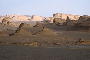 "Dasht-e Lut - So-called ""sand castles"" in the Dasht-e Lut near Kerman, Iran"