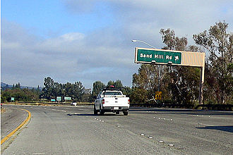Botts' dots - Botts' dots on Interstate 280 (California), near the Sand Hill Road exit