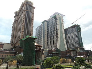 Sands Cotai Central - The 3 hotel towers. From left to right: Conrad/Holiday Inn, Sheraton and Sheraton Towers.