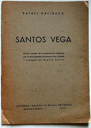 Santos Vega - Cover to Santos Vega, by Rafael Obligado. 1937 edition.