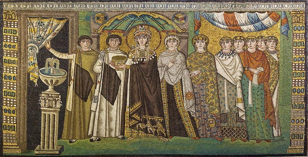 Mosaique de Ravenne : Impératrice Théodora et sa suite dans la Basilique San Vitale (Emilie-Romagne, Italie) - Photo de Roger Culos