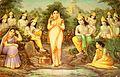 Sarva vyapak to each gopi, Krishna seems to be in all moods, everywhere (bazaar art, Bombay, c.1920's).jpg