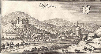 Schiltach - 1643 townscape by Swiss engraver, Matthäus Merian, showing the castle above the town of Schiltach
