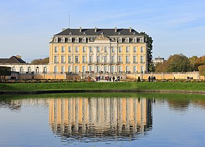 Augustusburg and Falkenlust Palaces, Brühl - Schloss Augustusburg reflected in the park's basin