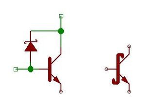 Left, the schematic for a Schottky-connected transistor. Right, the symbol for a Schottky transistor.