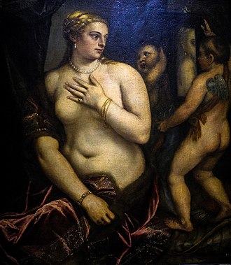Venus with a Mirror - Image: Seated Venus and her mirror held by Cupid Wallraf Richartz Museum