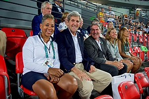 David Haggerty (tennis) - David Haggerty in 2016 next to John Kerry.