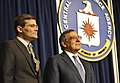 Secretary of Defense Leon E. Panetta stands with Michael Morell, acting director of the CIA, as a citation is read in Morell's homor on stage during one final visit to the CIA.jpg