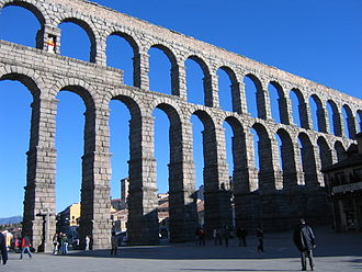 Roman engineering - Aqueduct of Segovia, Spain.