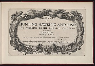 Francis Barlow (artist) - Image: Seuerall wayes of hunting, hawking and fishing according to the English manner title page