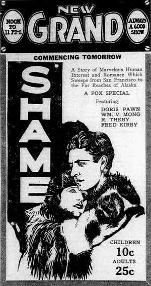Shame (1921 film) - Newspaper advertisement