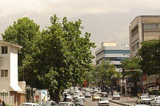 Shemiran - Shariati Ave, looking north, toward the Alborz Mountains towering over Shemiran district, Tehran, Iran