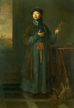 "China–France relations - Michel Sin visited France in 1684. ""The Chinese Convert"" by Sir Godfrey Kneller, 1687."
