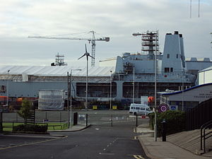 Cammell Laird - A Fort Victoria class replenishment oiler undergoing refit work at Cammell Laird, 2009