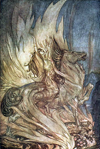 Colored illustration by Arthur Rackham of Brünnhilde throwing herself onto Siegfried's funeral pyre in Wagner's Götterdämmerung