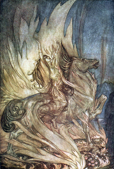 Brunnhilde throws herself on Siegfried's funeral pyre in Wagner's Gotterdammerung Siegfried and the Twilight of the Gods p 180.jpg