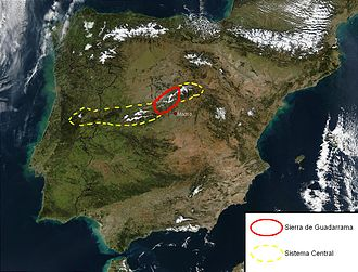 Sierra de Guadarrama - Satellite image: Sierra de Guadarrama in red, Sistema Central in dashed yellow.