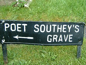 1843 in poetry -  Sign to Robert Southey's grave, St. Kentigern's Churchyard, Crosthwaite, Cumbria, England