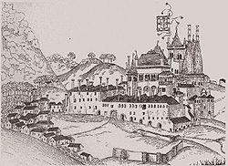 Palácio de Sintra por Duarte de Armas (Livro das Fortalezas, c. 1509).