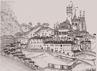 Sintra National Palace - Palace of Sintra drawn by Duarte D'Armas around 1509. The Manueline Wing was not yet built. Unlike today, the front courtyard of the Palace was enclosed by a wall and several buildings. Clearly visible are the main façade of John's Wing with the entrance gallery as well as the conical kitchen chimneys