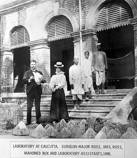 Ross, Mrs Ross, Mahomed Bux, and two other assistants at Cunningham's laboratory of Presidency Hospital in Calcutta Sir R. Ross on steps of laboratory in Calcutta, 1898 Wellcome L0011943.jpg