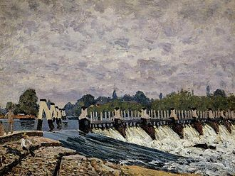 Molesey Lock - Alfred Sisley's painting of the weir in 1874