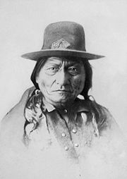 Sitting Bull in Pierre, South Dakota on his way to Standing Rock Agency from Fort Randall