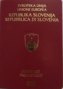 Front cover of a bilingual passport in Slovene and Italian Slovenian Passport3.jpg