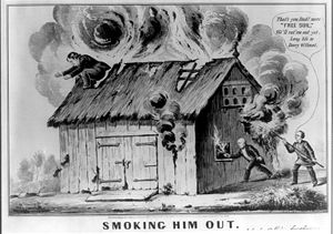 Barnburners and Hunkers - 1848 cartoon satirizing the Barnburners / Free Soil Party, referencing the Wilmot Proviso