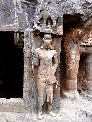 Pitalkhora - Image: Soldier statue guarding Buddhist cave Pitalkhora