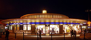 Southgate tube station - Night view.