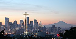 The Space Needle in front of a Seattle skyline