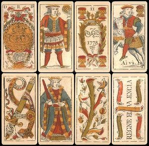 Spanish playing cards - Valencia pattern cards from 1778. They are closely related to the Old Catalan pattern.