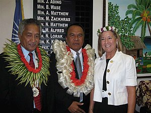 Jurelang Zedkaia - President Zedkaia (middle), flanked by Speaker Alvin Jacklick (L) and U.S. ambassador Martha Campbell.