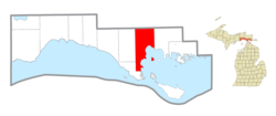 Location within Mackinac County