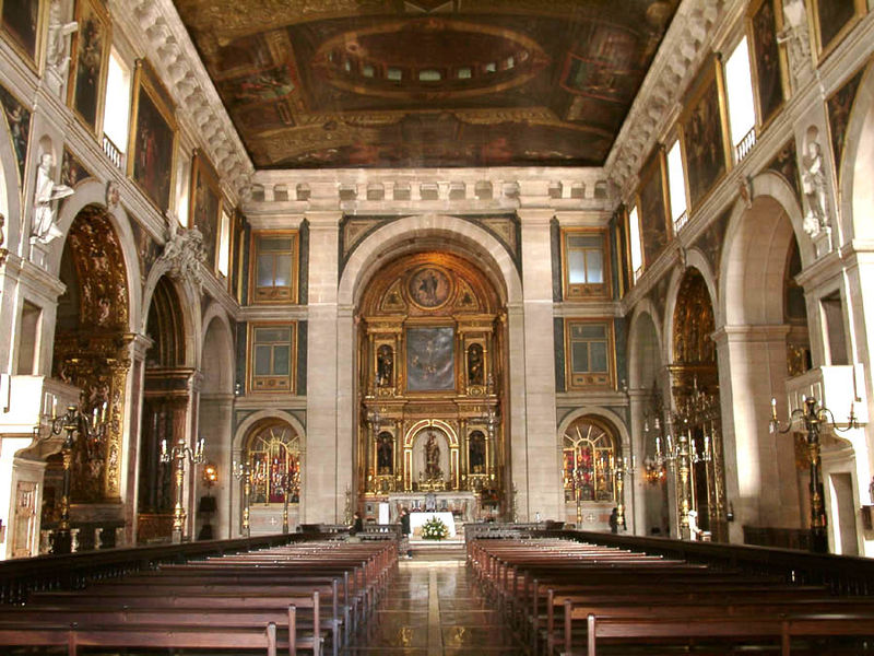 Interior view of the Church of Sao Roque, Lisbon, Portugal.  From An Architectural Tour of Portugal