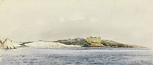 Saint Thomas Tower - Painting of St Thomas Bay in World War I, viewed from the sea. The tower is visible in the centre.