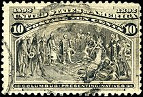 Columbus Presenting Natives, 10¢